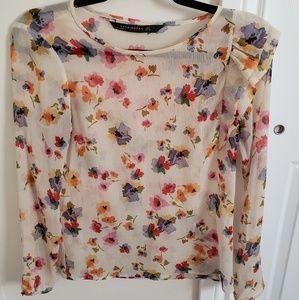 Zara sheer floral top
